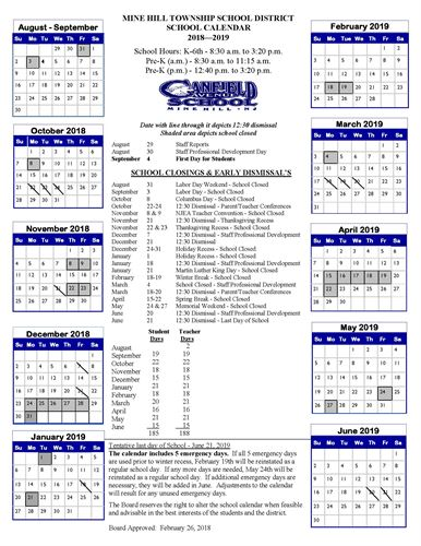 canfield avenue school yearly calendar